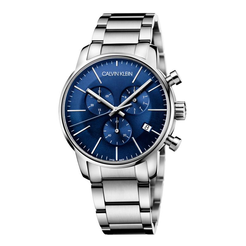 Image of   Calvin Klein - CK City herreur chronograph stål, blå skive med lænke