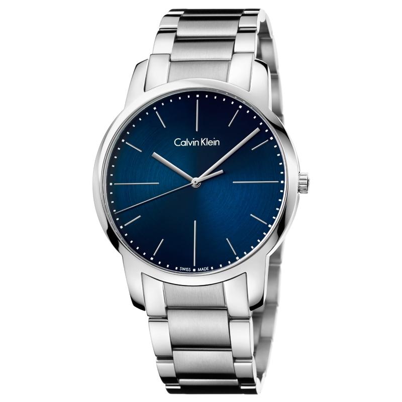 Image of   Calvin Klein City armbåndsur i stål med blå skive