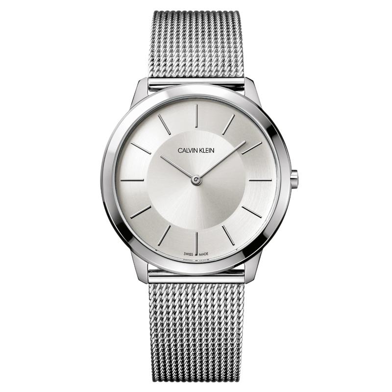 Image of   Calvin Klein - CK Minimal herreur, stål med lænke, sølvgrå skive