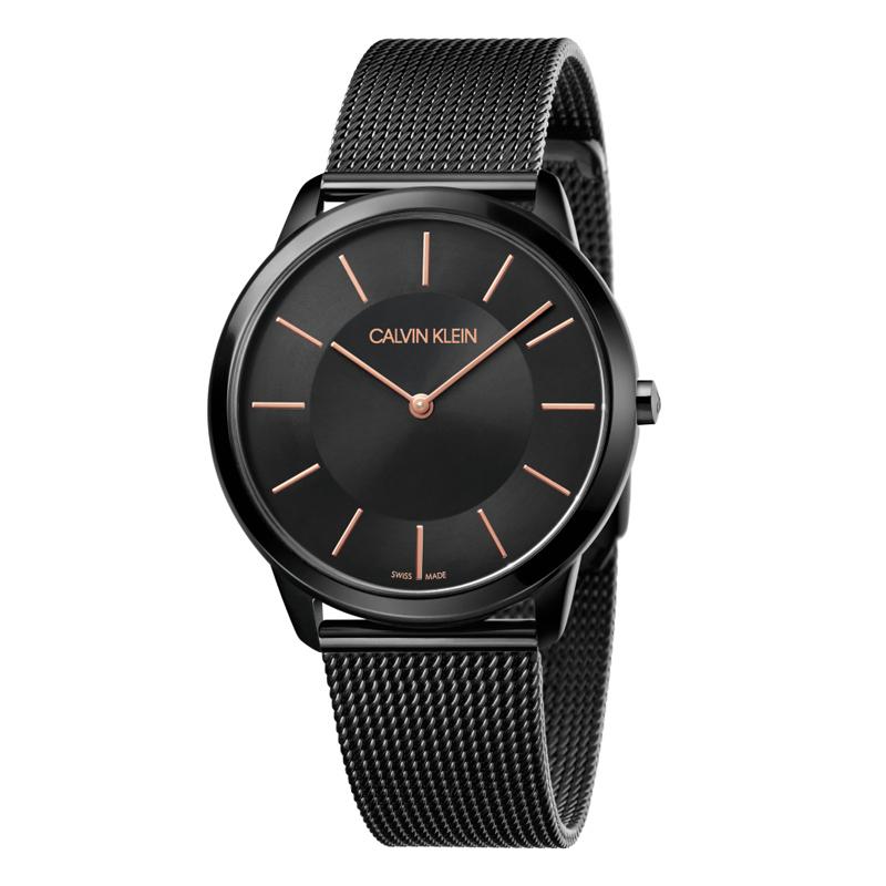 Image of   Calvin Klein - CK Minimal ur med sort mesh lænke