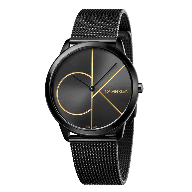 Image of   Calvin Klein - CK Minimal armbåndsur i sort stål med sort skive og forgyldt logo