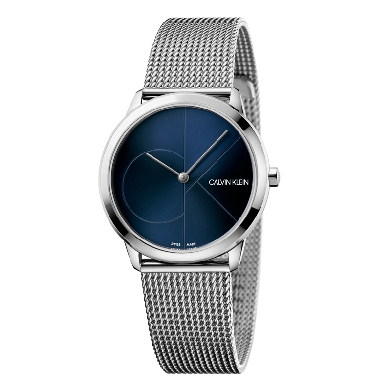 Image of   Calvin Klein - CK Minimal armbåndsur i stål med blå skive og logo