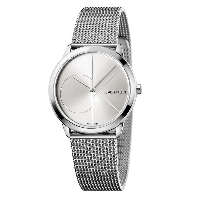 Image of   Calvin Klein - CK Minimal armbåndsur i stål med sølv skive og hvidt logo