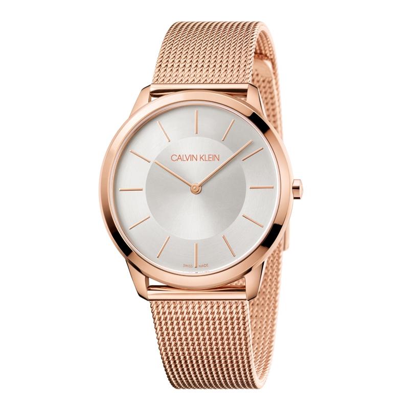 Image of   Calvin Klein Minimal armbåndsur i rosaforgyldt stål med meshlænke, sølvhvid skive