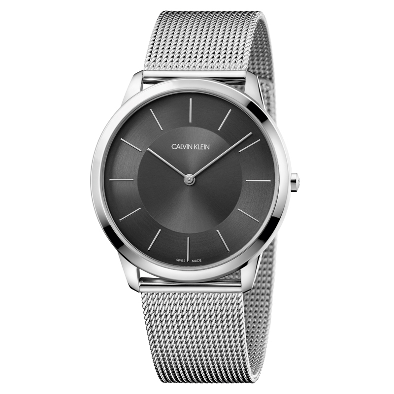 Image of   Calvin Klein Minimal armbåndsur i stål med meshlænke, mørkegrå skive