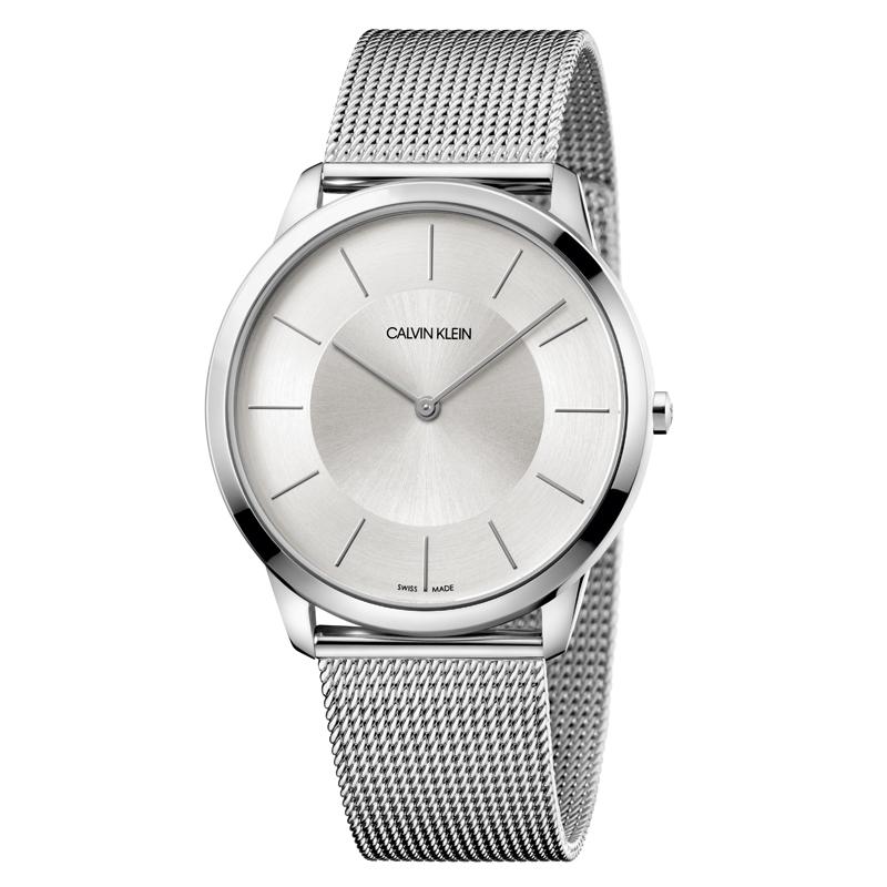 Calvin Klein Minimal armbåndsur i stål med meshlænke, sølvhvid skive