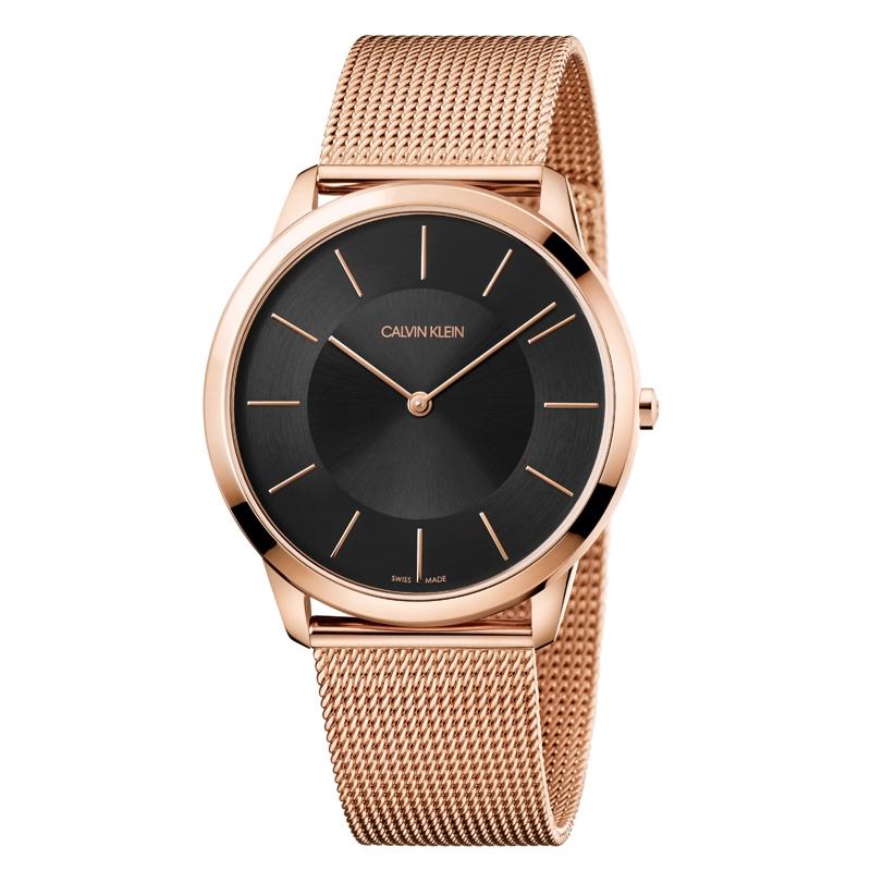 Image of   Calvin Klein Minimal armbåndsur i rosaforgyldt stål med meshlænke, sort skive