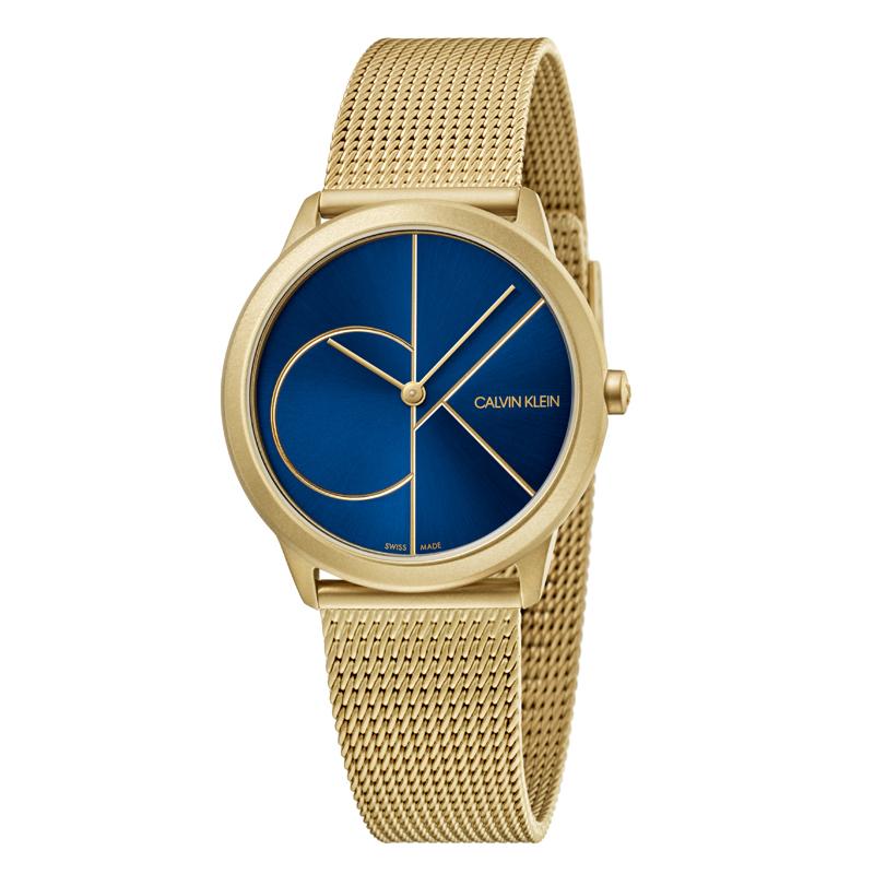 Image of   Calvin Klein - CK Minimal armbåndsur i mat guldfarvet stål med blå skive og forgyldt logo
