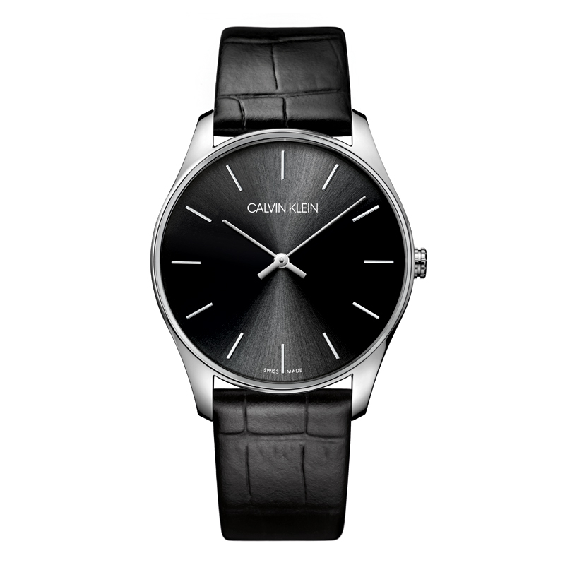 Image of   Calvin Klein - CK Classic herreur, sort skive med sort læderrem