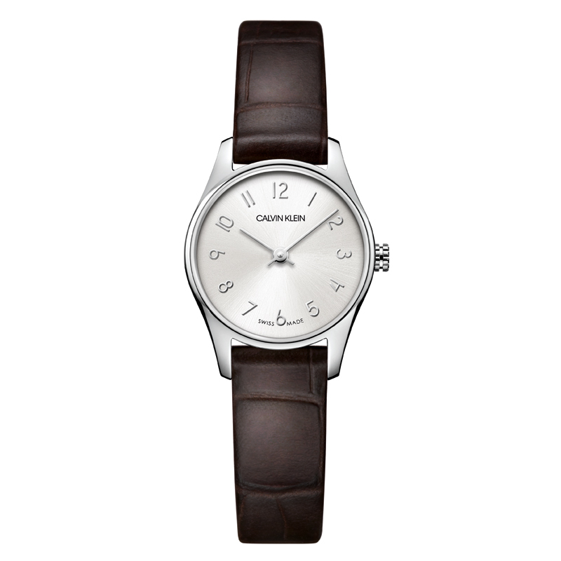 Image of   Calvin Klein - CK Classic dameur, sølvgrå skive med brun læderrem