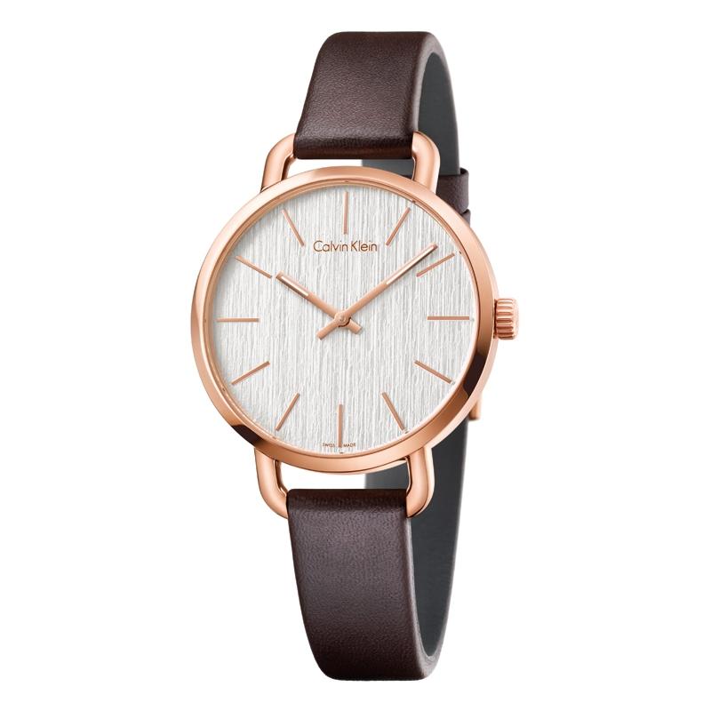 Image of   Calvin Klein Even armbåndsur i rosaforgyldt stål med brun læderrem