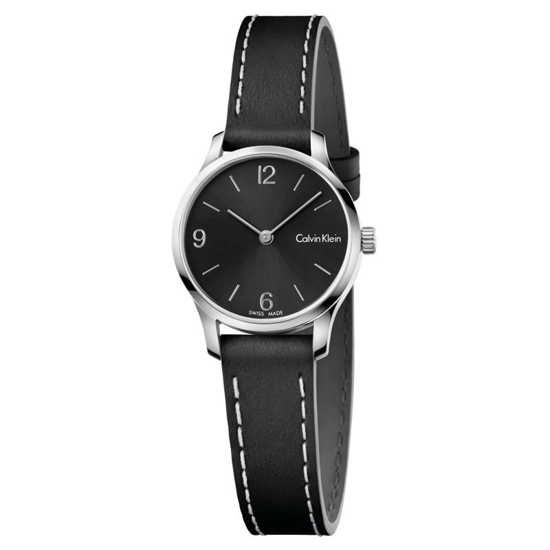 Image of   Calvin Klein - CK Endless armbåndsur i stål med sort skive og sort læderrem