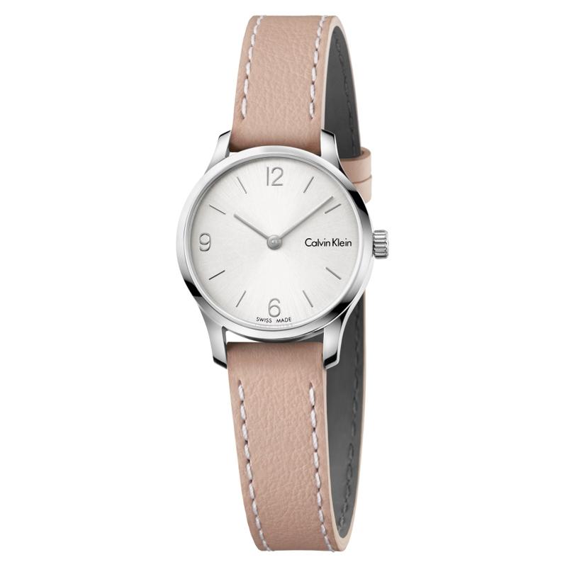 Image of   Calvin Klein - CK Endless armbåndsur i stål med hvid skive og nude læderrem