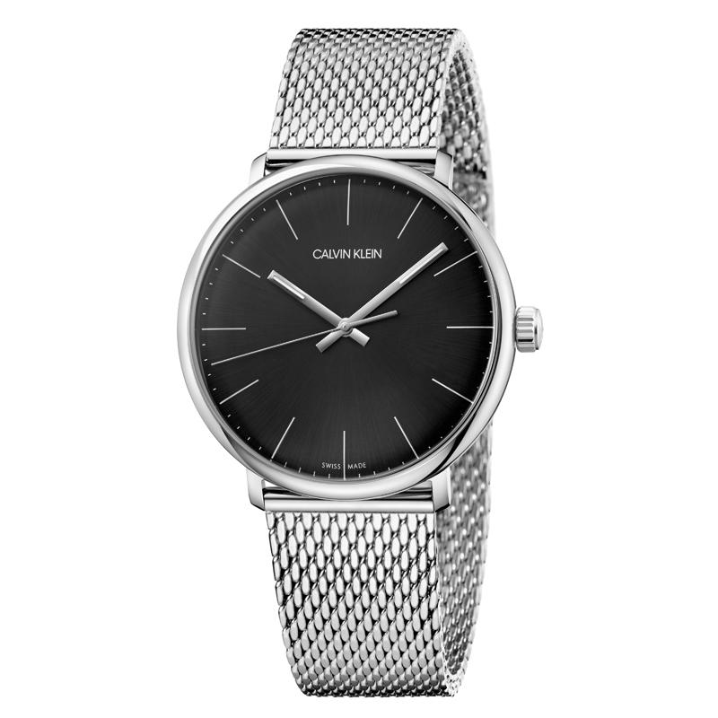 Image of   Calvin Klein High Noon armbåndsur i stål med sort skive og lænke