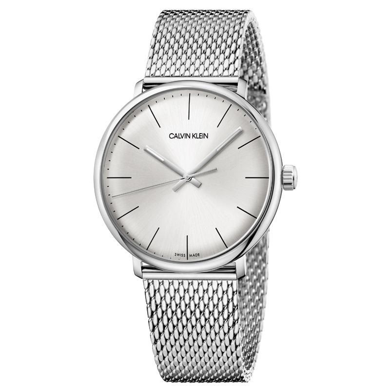 Image of   Calvin Klein High Noon armbåndsur i stål med sølvhvid skive og lænke