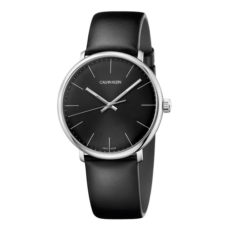 Image of   Calvin Klein High Noon armbåndsur i stål med sort rem, sort skive