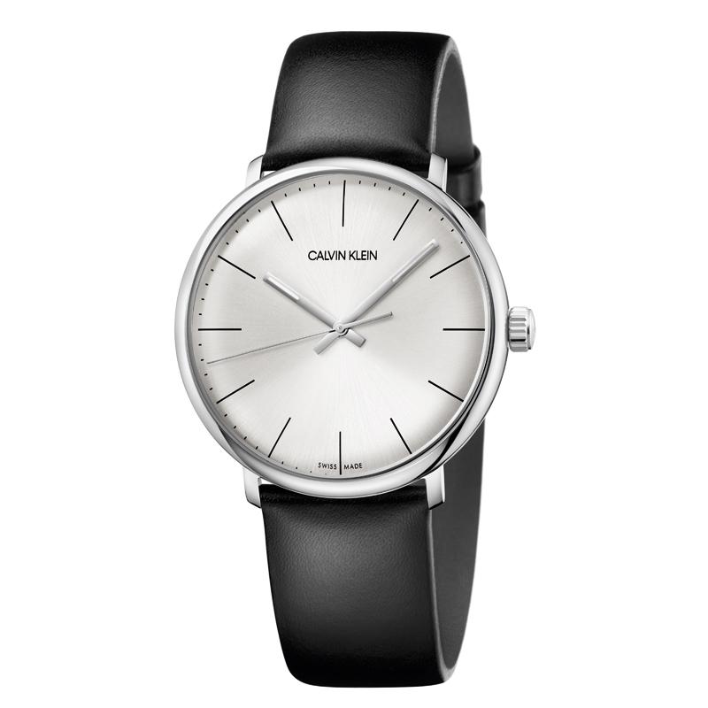 Image of   Calvin Klein High Noon armbåndsur i stål med sort rem, stål skive
