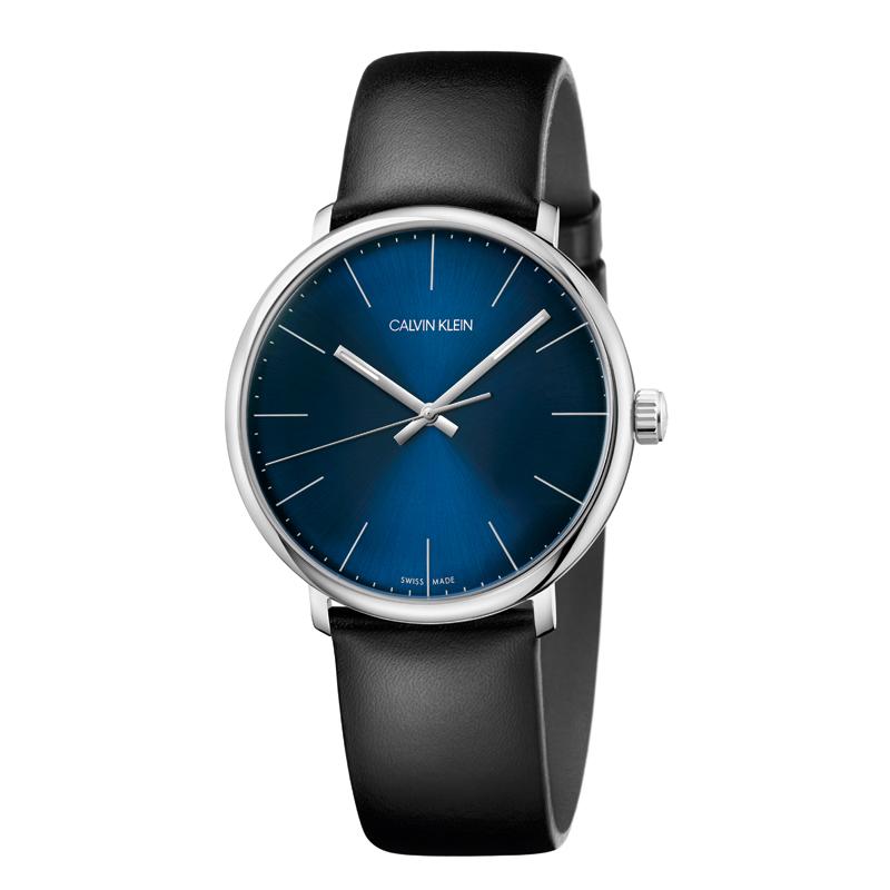 Image of   Calvin Klein High Noon armbåndsur i stål med sort rem, blå skive