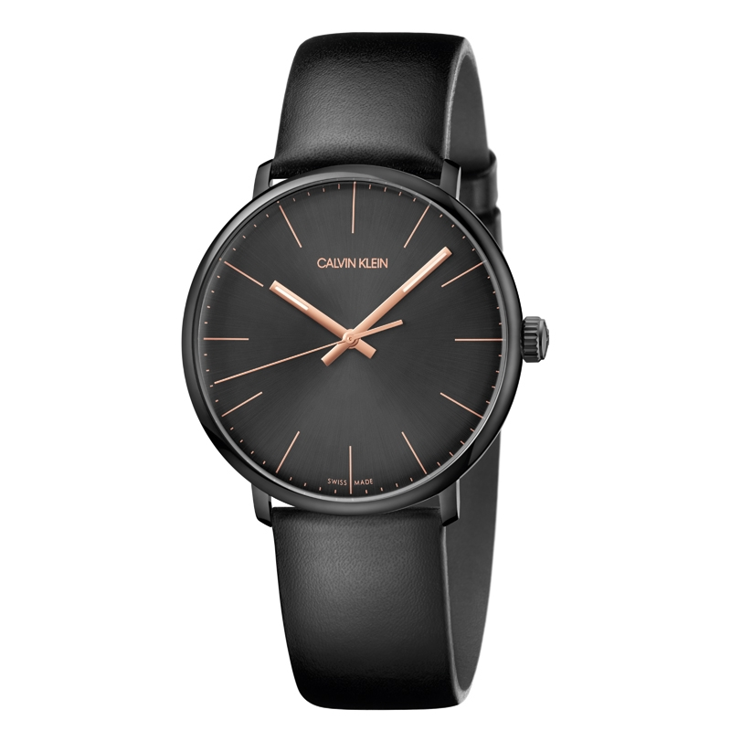Image of   Calvin Klein High Noon armbåndsur i sort stål med sort rem, sort skive