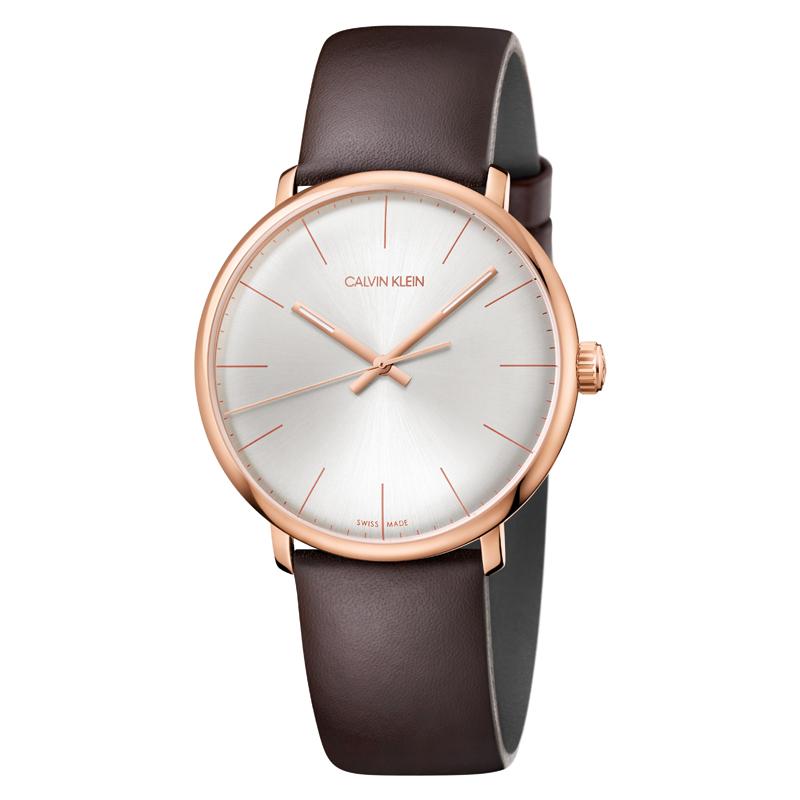 Image of   Calvin Klein High Noon armbåndsur i rosa stål med sølv skive og brun læderrem