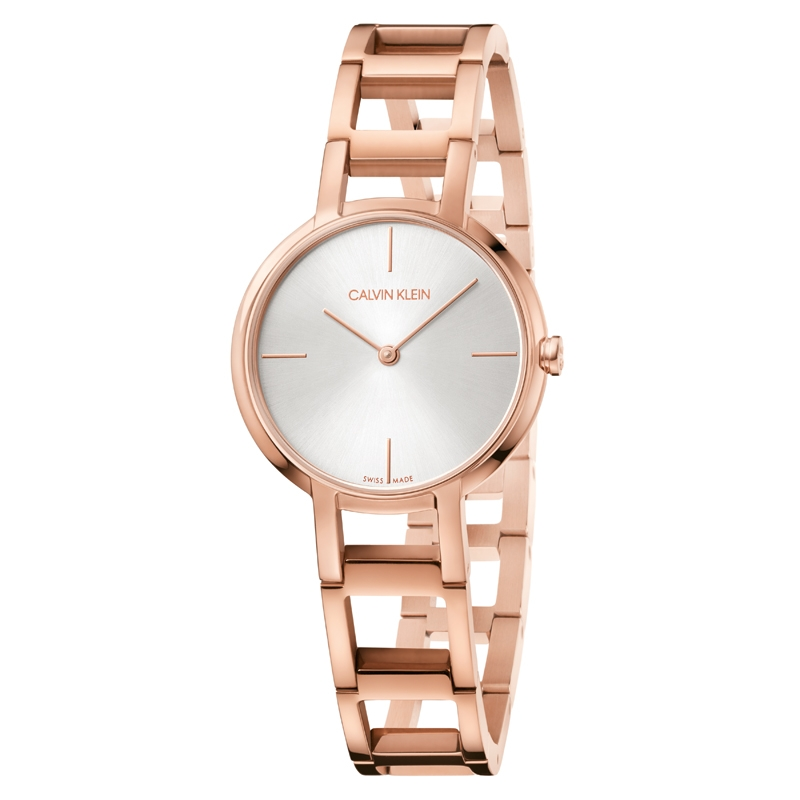 Image of   Calvin Klein Cheers armbåndsur i rosaforgyldt stål med sølv skive