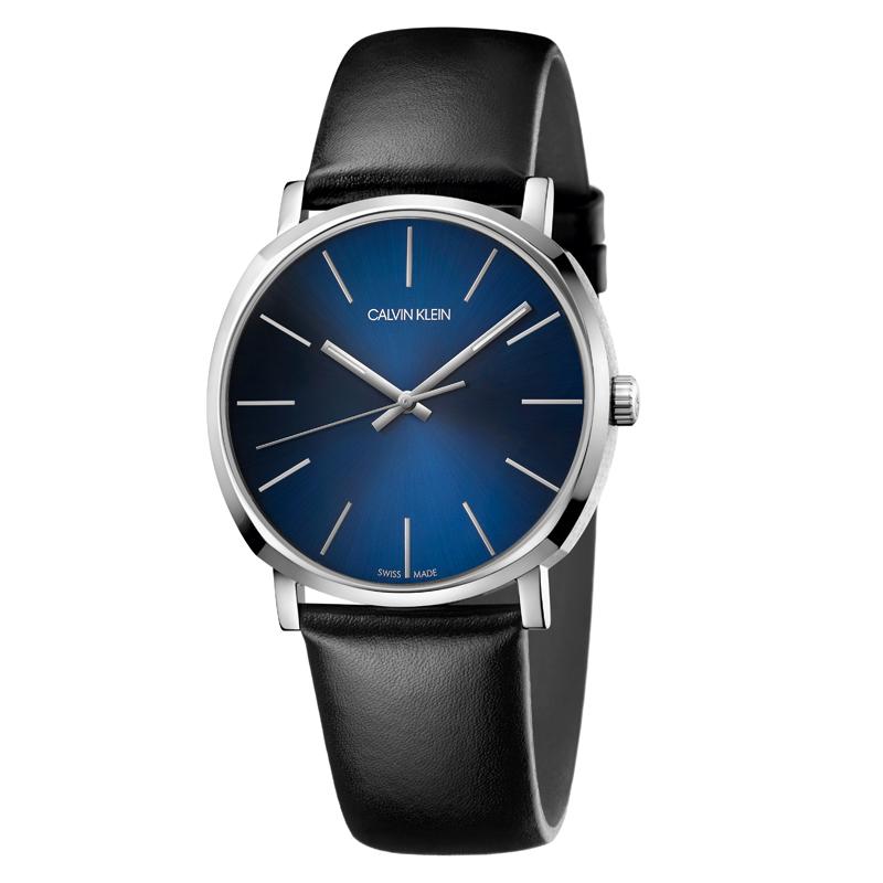 Image of   Calvin Klein Posh armbåndsur i stål med sort rem, blå skive
