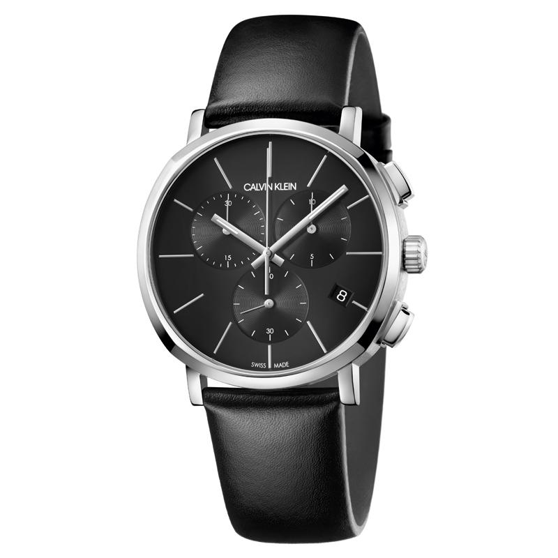 Image of   Calvin Klein Posh chronograph armbåndsur i stål med sort skive og læderrem