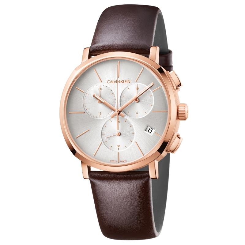 Image of   Calvin Klein Posh chronograph armbåndsur i rosafarvet stål med sølvhvid skive og brun læderrem