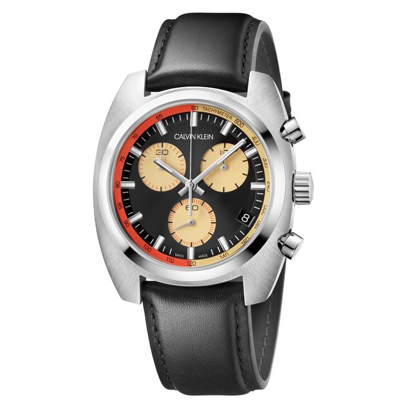 Image of   Calvin Klein Achieve chronograph armbåndsur i stål med sort læderrem