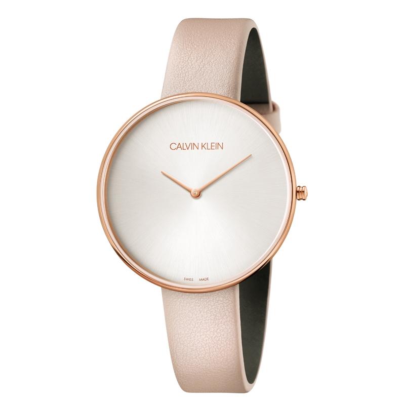 Image of   Calvin Klein Full Moon armbåndsur i rosaforgyldt stål med sølv skive og nude rem