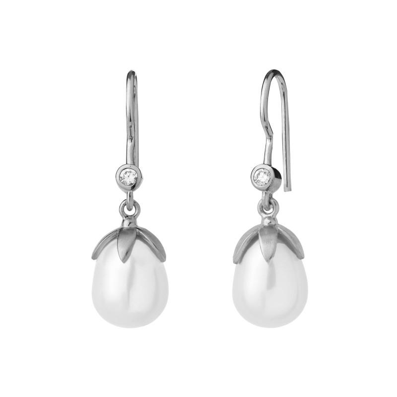 Image of   By Biehl La Perle ørehængere, sølv med hvid perle og cz
