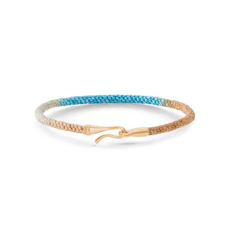 Ole Lynggaard Life armbånd i blå/brun med guld krog-16 cm
