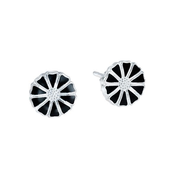 Lund Marguerit ørestik Sølv/sort 7,5 mm