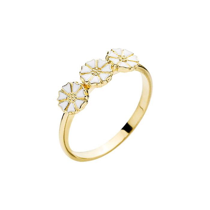 Lund Copenhagen Marguerit Ring, 3 blomster forgyldt med hvid emalje str 62
