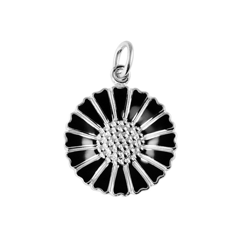 Lund Copenhagen Marguerit Vedhæng - sølv med sort emalje, 18 mm