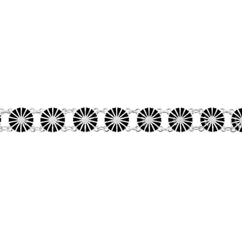 Lund Copenhagen Marguerit Armbånd 13x11 mm Sølv Sort Emalje