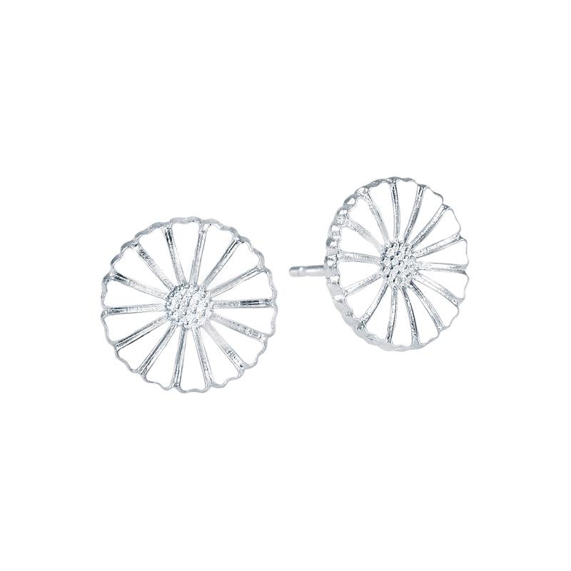 Lund Marguerit ørestikker i  Sølv med hvid emalje 11 mm