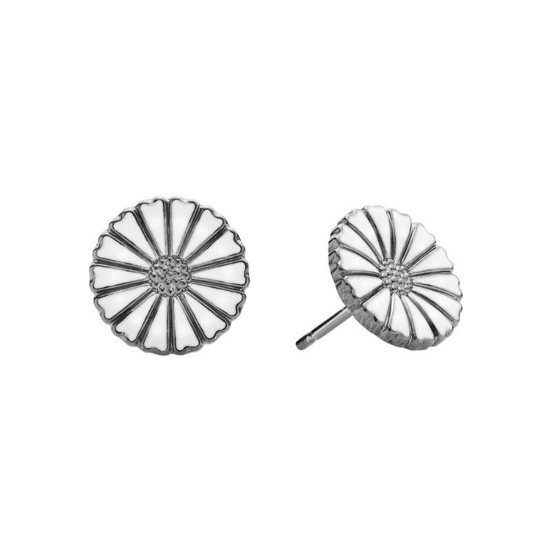 Lund Marguerit ørestik Sort rhodineret m. hvid emalje 11 mm