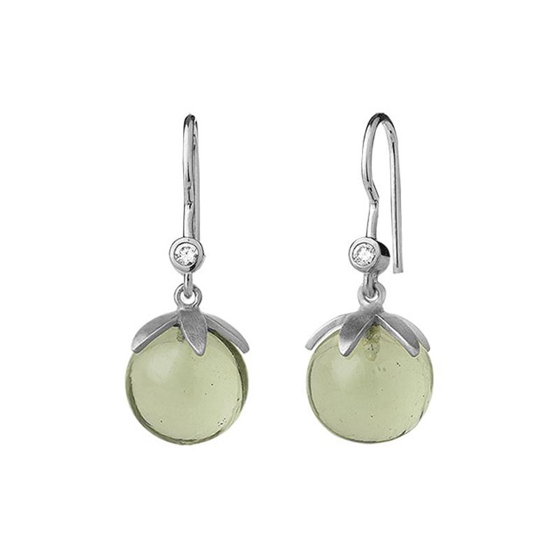 ByBiehl Magic ørehænger i sølv med grøn krystal