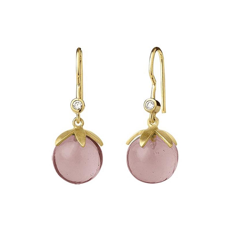 ByBiehl Magic ørehænger i forgyldt med lyserød krystal