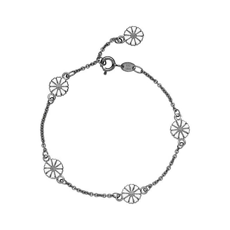 Lund Copenhagen marguerit armbånd med 5 margueritter i sort sølv med hvid emalje