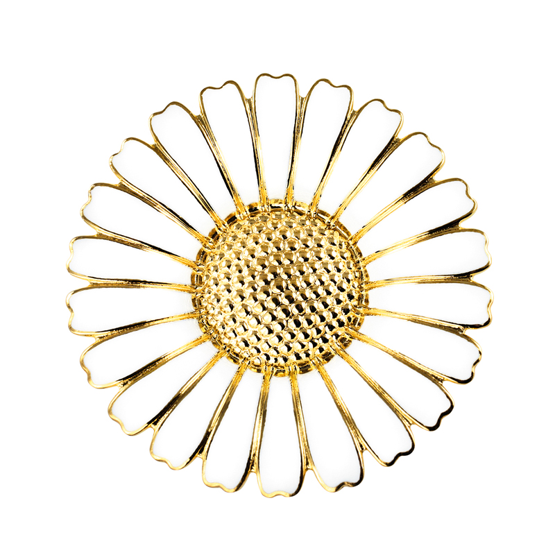 Image of   Lund Copenhagen Marguerit Broche Forgyldt 43 mm