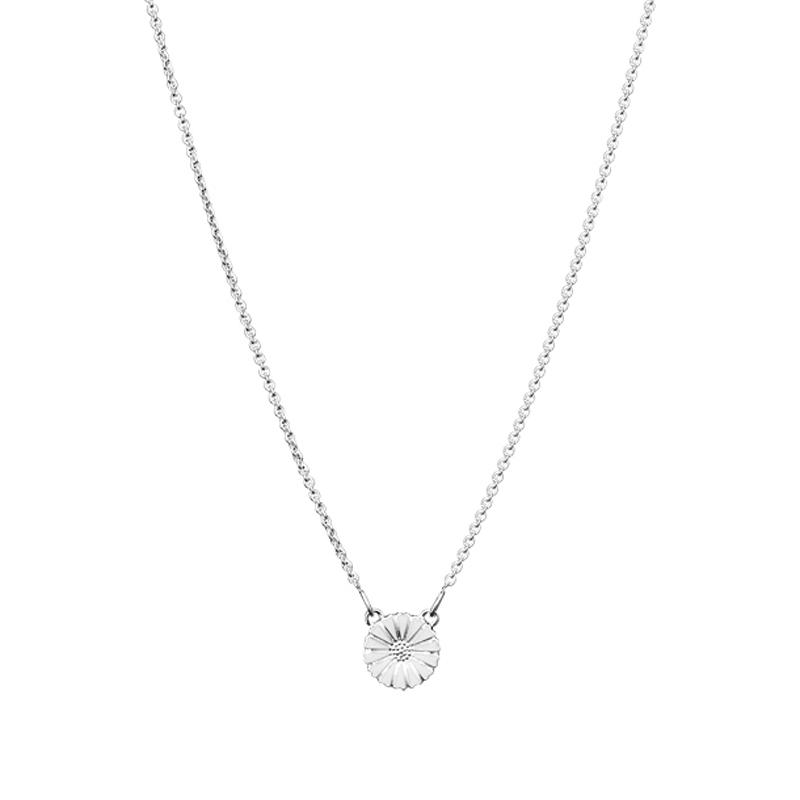 Lund Copenhagen Marguerit halskæde med Ø 11 mm vedhæng, sølv med hvid emalje