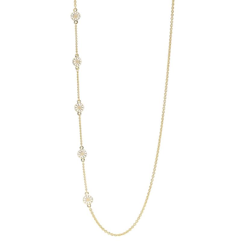Lund Copenhagen Marguerit forgyldt lang halskæde med 5 hvide Margueritter, 100 cm