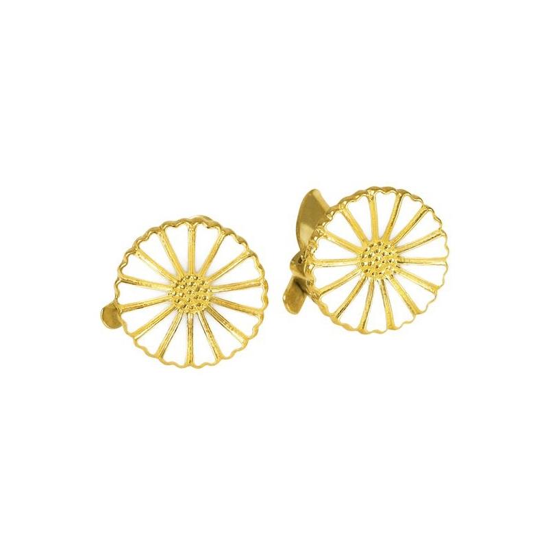 Lund Marguerit øreclips i forgyldt med hvid emalje Ø 11 mm