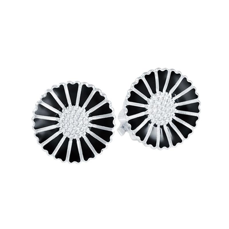 Lund Marguerit øreclips i sølv med sort emalje Ø 18 mm