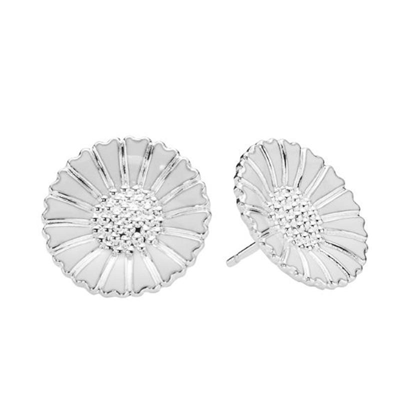 Lund Marguerit ørestikker i sølv med hvid emalje 18 mm