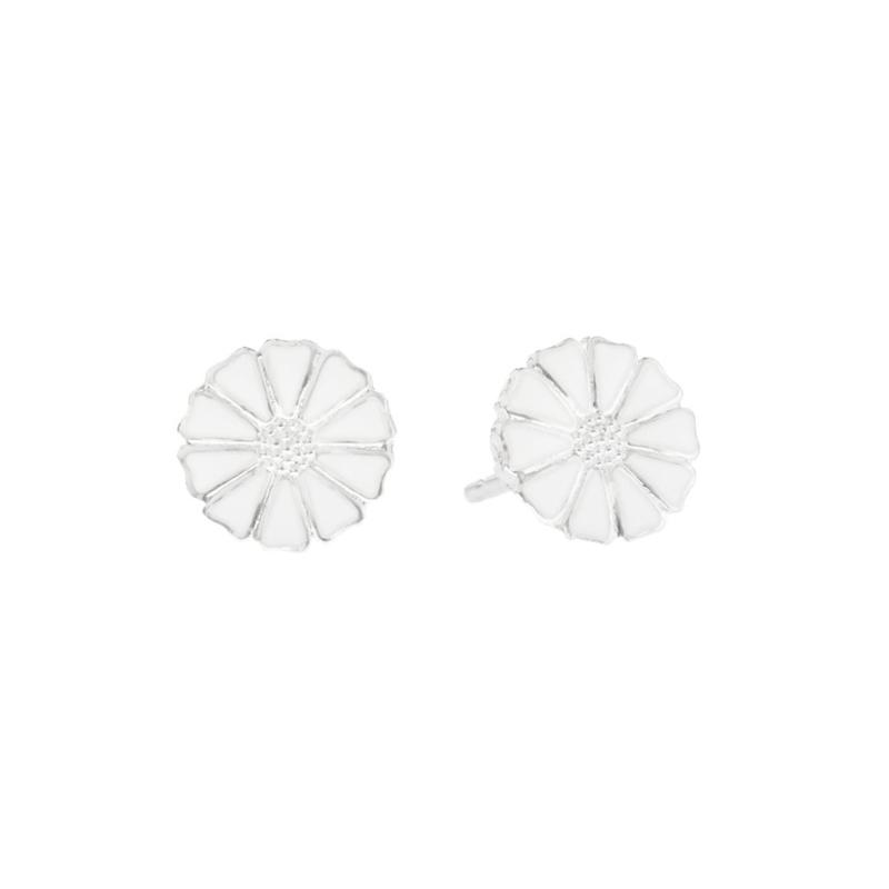 Lund Marguerit ørestikker i Sølv med hvid emalje Ø 7,5 mm