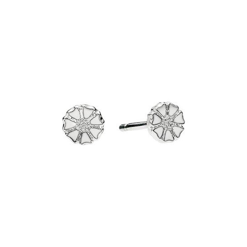 Lund Marguerit Mikro sølv ørestikker med hvid emalje Ø 5 mm