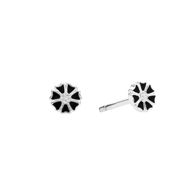 Lund Margueritter mikro ørestikker i Sølv/Sort Ø 5mm
